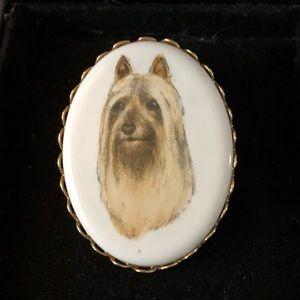Vintage Porcelain Dog Cameo